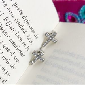 DAINTY WHITE GOLD PAVE CROSS STUDS